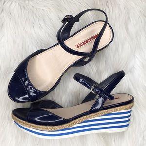 Prada patent stripe platform sandals